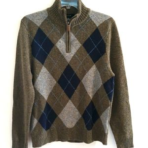 J.Crew Lambs Wool 1/4 Zip Sweater Argyle